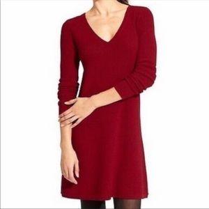 Athleta red merino wool blend sweater dress small